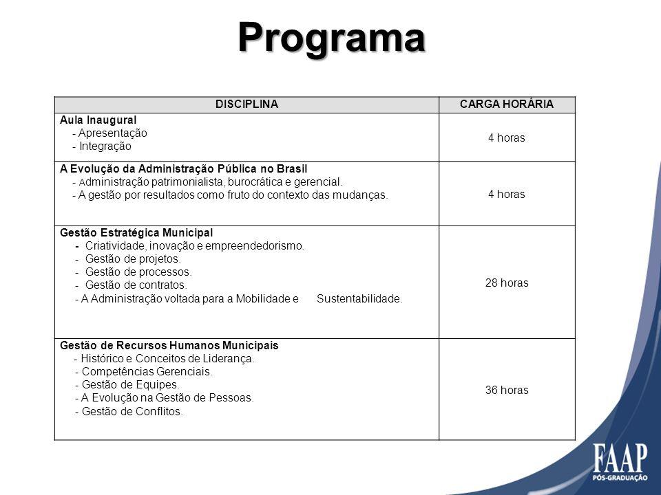 Programa DISCIPLINA CARGA HORÁRIA Aula Inaugural - Apresentação