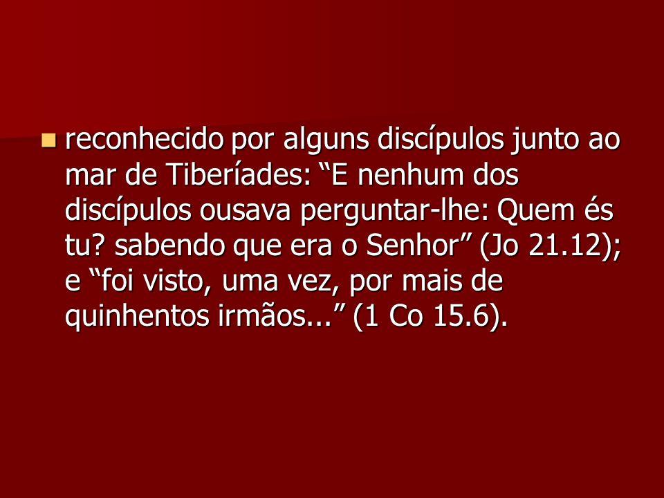 reconhecido por alguns discípulos junto ao mar de Tiberíades: E nenhum dos discípulos ousava perguntar-lhe: Quem és tu.