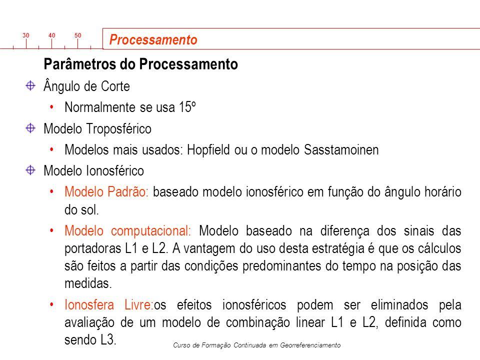 Parâmetros do Processamento