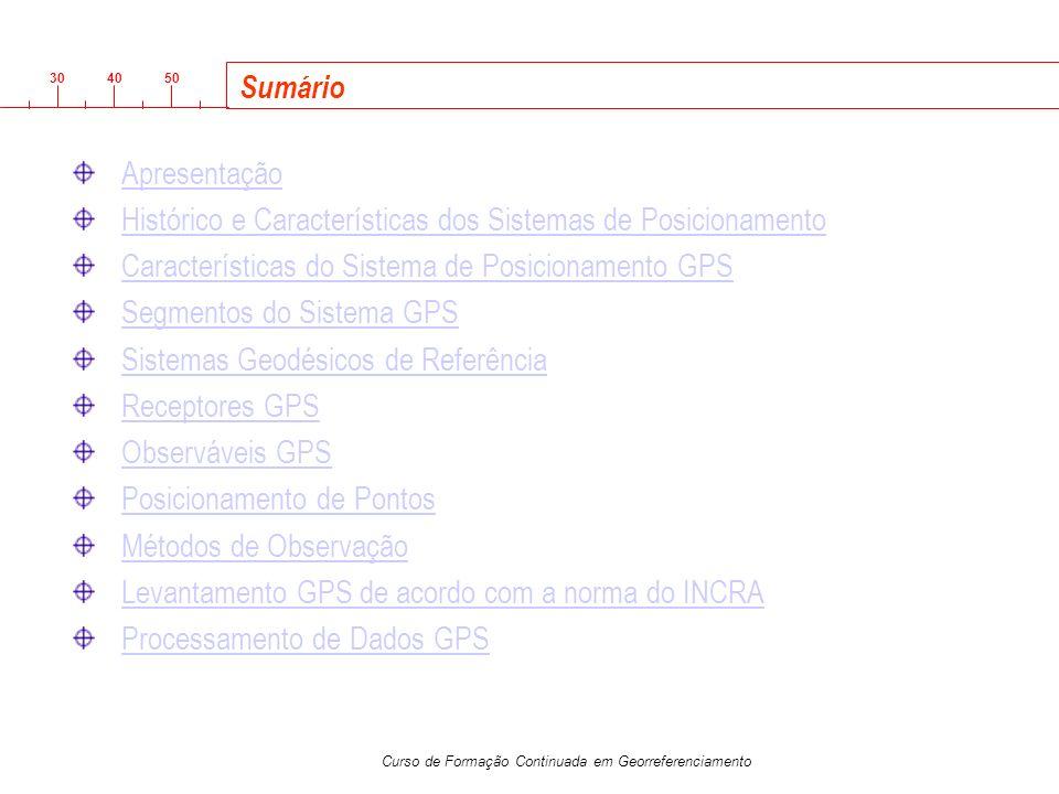 Sumário Apresentação. Histórico e Características dos Sistemas de Posicionamento. Características do Sistema de Posicionamento GPS.