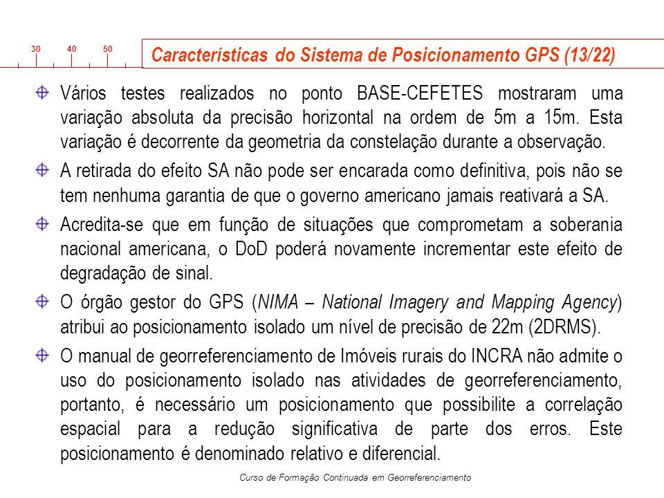 Características do Sistema de Posicionamento GPS (13/22)