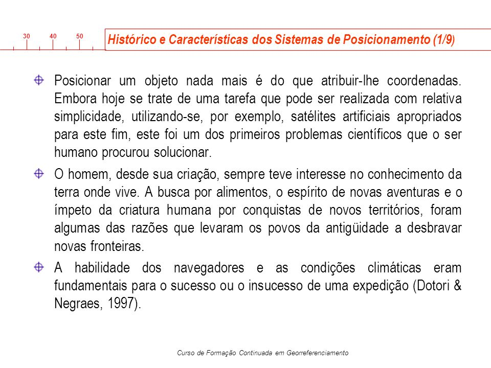 Histórico e Características dos Sistemas de Posicionamento (1/9)
