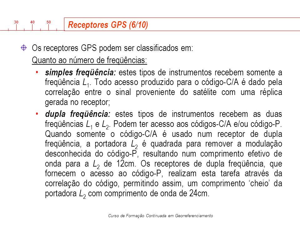 Receptores GPS (6/10) Os receptores GPS podem ser classificados em: Quanto ao número de freqüências: