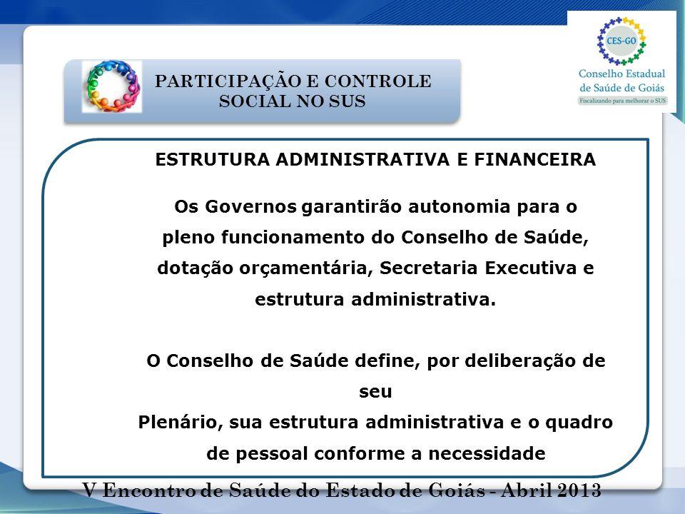 V Encontro de Saúde do Estado de Goiás - Abril 2013