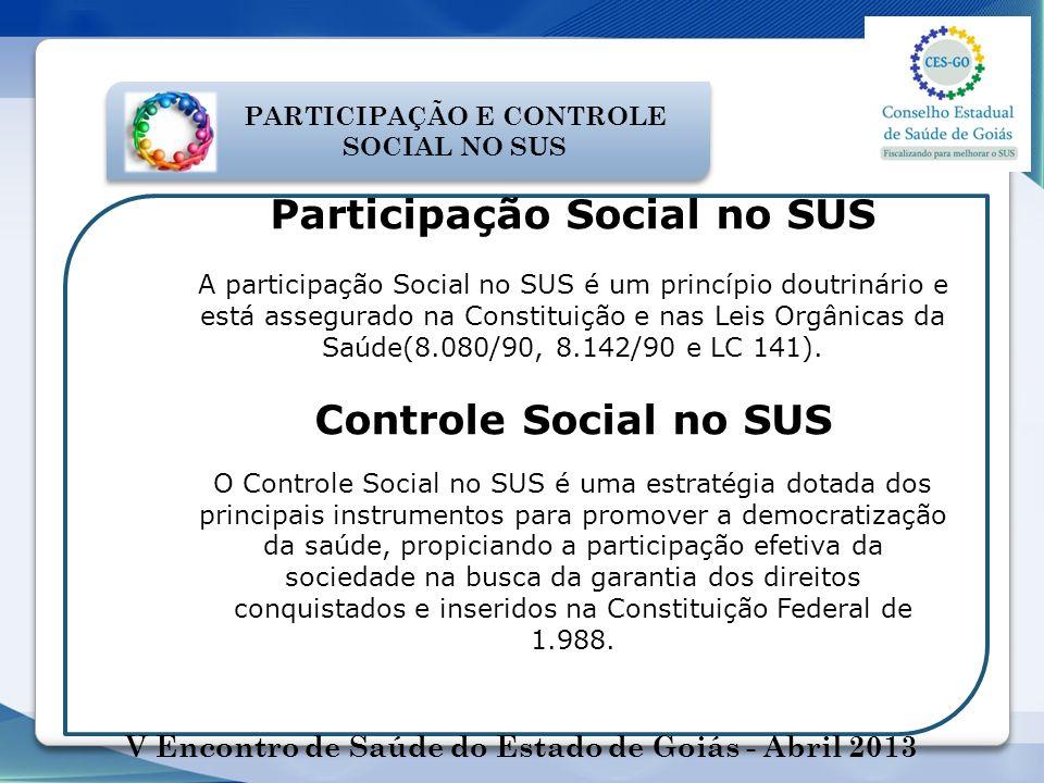 Participação Social no SUS Controle Social no SUS