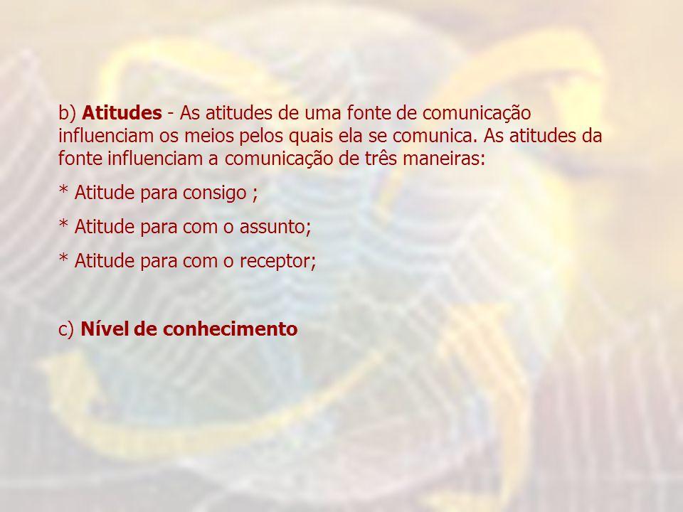 b) Atitudes - As atitudes de uma fonte de comunicação influenciam os meios pelos quais ela se comunica. As atitudes da fonte influenciam a comunicação de três maneiras: