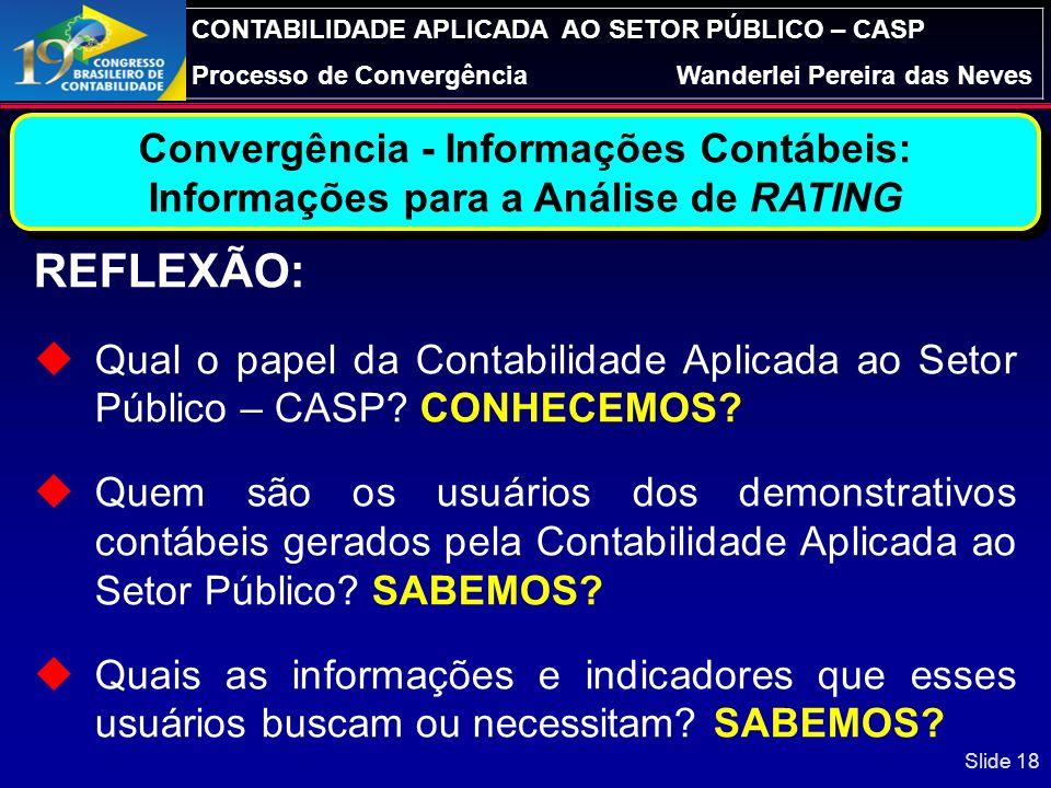 REFLEXÃO: Convergência - Informações Contábeis: