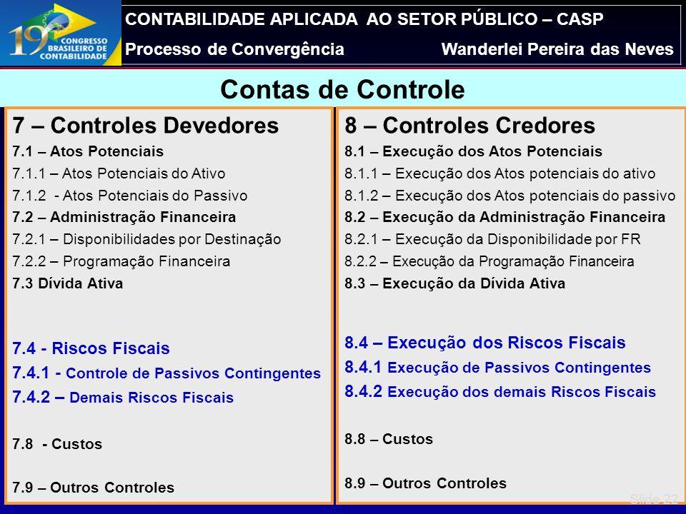 Contas de Controle 7 – Controles Devedores 8 – Controles Credores
