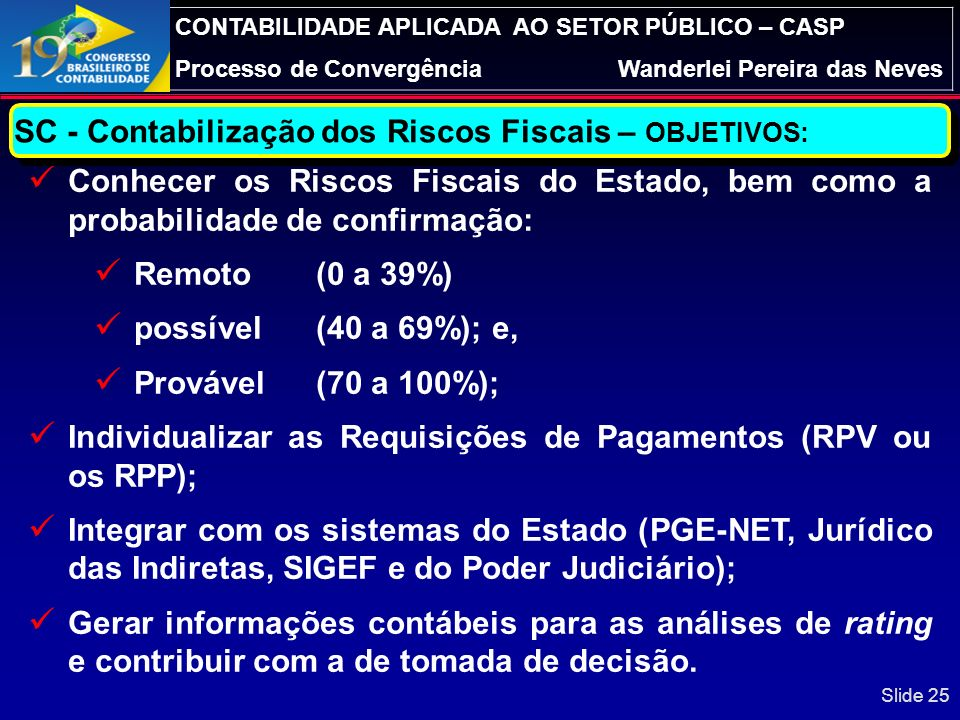 SC - Contabilização dos Riscos Fiscais – OBJETIVOS: