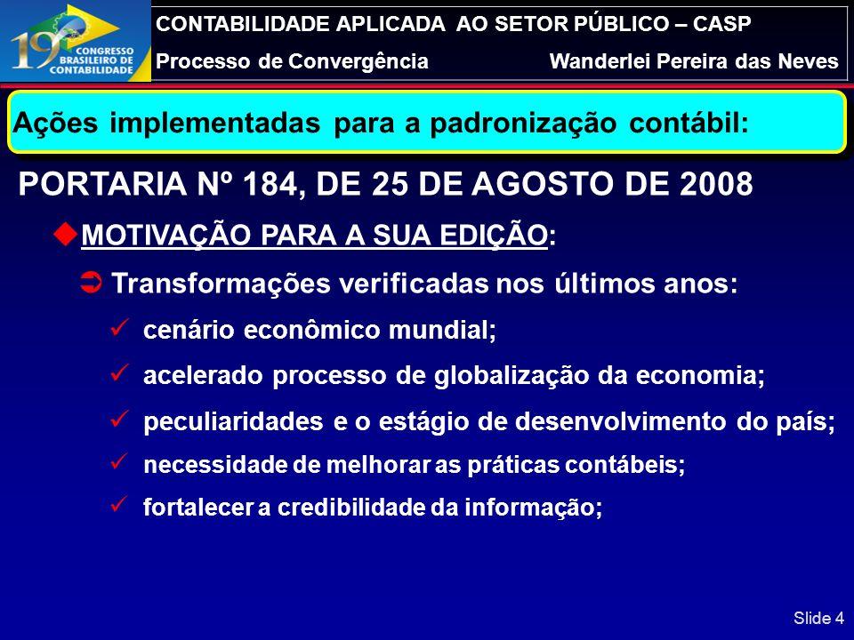 PORTARIA Nº 184, DE 25 DE AGOSTO DE 2008