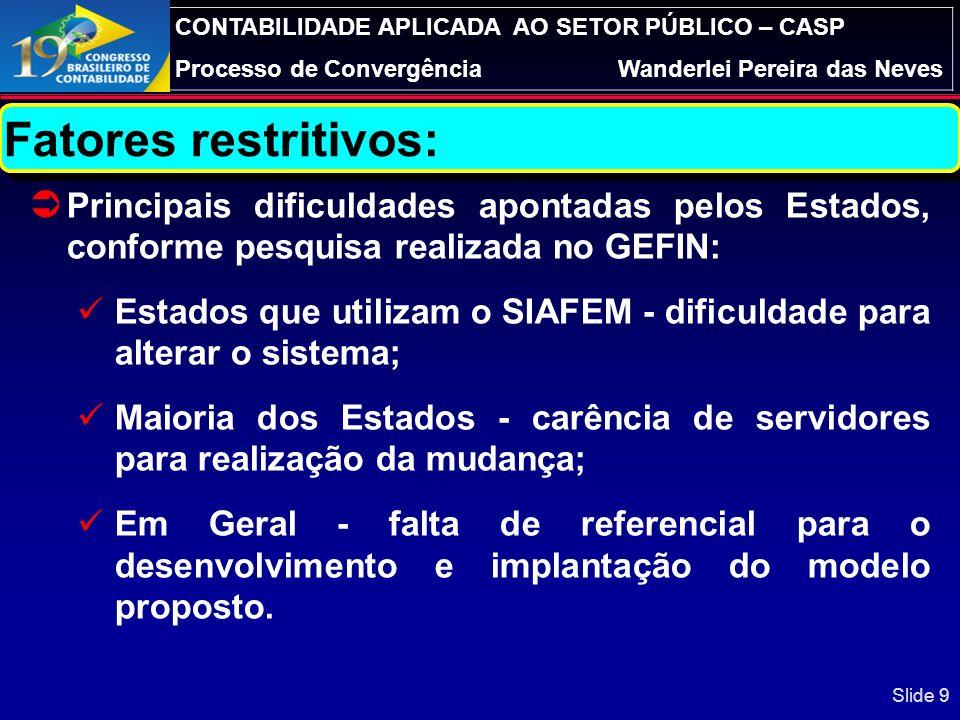 Fatores restritivos: Principais dificuldades apontadas pelos Estados, conforme pesquisa realizada no GEFIN: