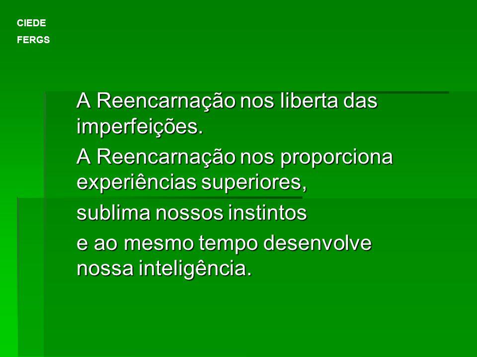 A Reencarnação nos liberta das imperfeições.