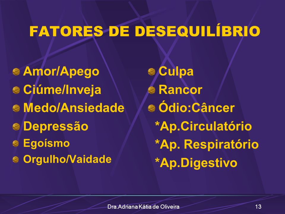 FATORES DE DESEQUILÍBRIO