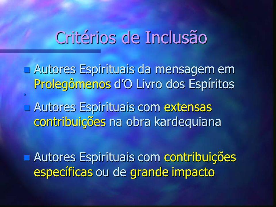 Critérios de Inclusão Autores Espirituais da mensagem em Prolegômenos d'O Livro dos Espíritos.