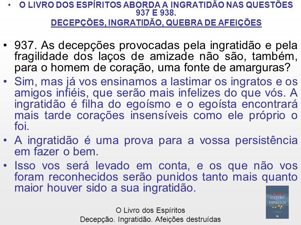 O LIVRO DOS ESPÍRITOS ABORDA A INGRATIDÃO NAS QUESTÕES 937 E 938.