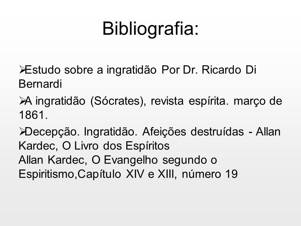 Bibliografia: Estudo sobre a ingratidão Por Dr. Ricardo Di Bernardi