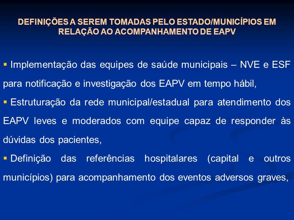 DEFINIÇÕES A SEREM TOMADAS PELO ESTADO/MUNICÍPIOS EM RELAÇÃO AO ACOMPANHAMENTO DE EAPV