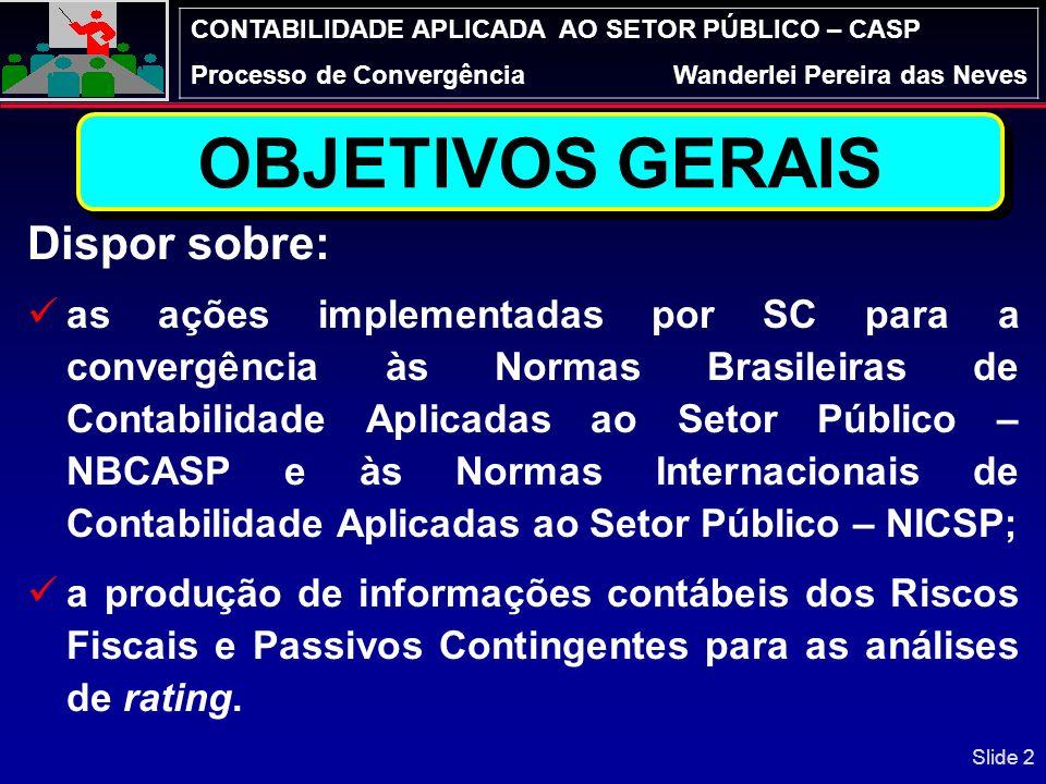 OBJETIVOS GERAIS Dispor sobre: