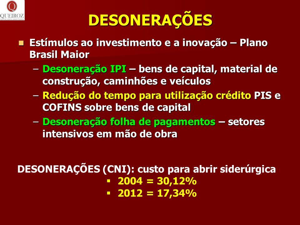 DESONERAÇÕES Estímulos ao investimento e a inovação – Plano Brasil Maior.