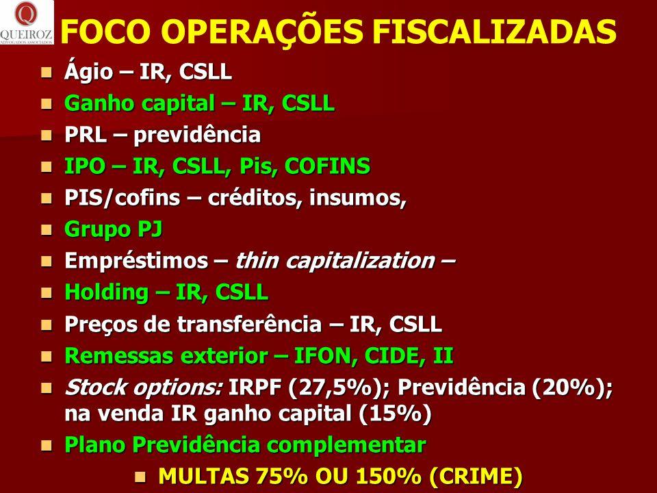 FOCO OPERAÇÕES FISCALIZADAS
