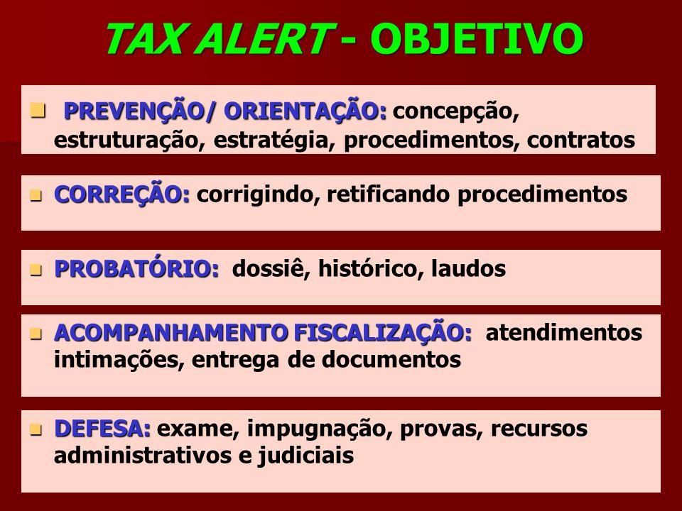 TAX ALERT - OBJETIVO PREVENÇÃO/ ORIENTAÇÃO: concepção, estruturação, estratégia, procedimentos, contratos.