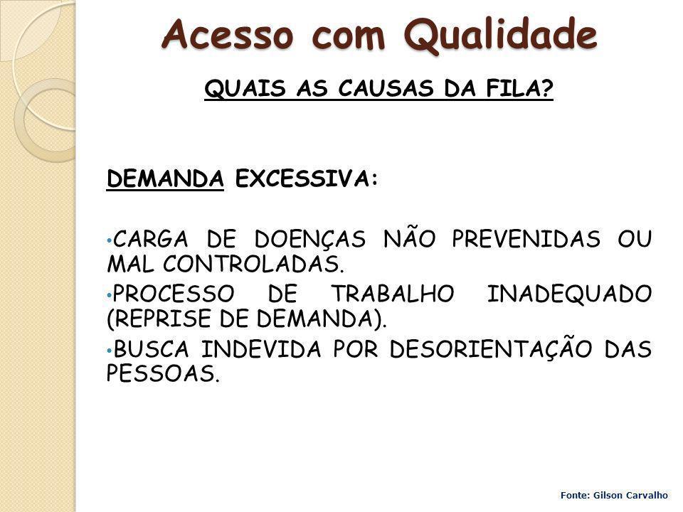 Acesso com Qualidade QUAIS AS CAUSAS DA FILA DEMANDA EXCESSIVA: