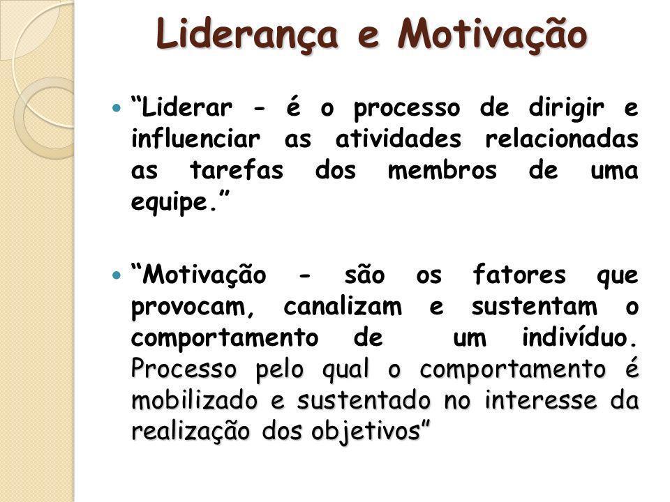 Liderança e Motivação Liderar - é o processo de dirigir e influenciar as atividades relacionadas as tarefas dos membros de uma equipe.