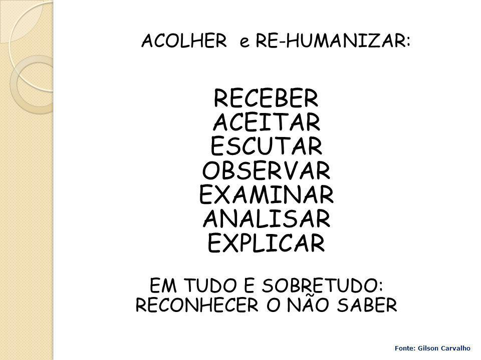 ACOLHER e RE-HUMANIZAR: