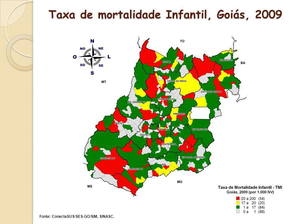 Taxa de mortalidade Infantil, Goiás, 2009