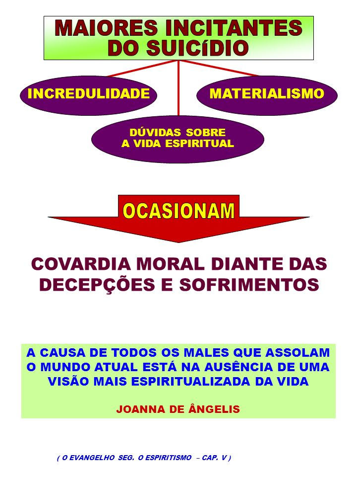 MAIORES INCITANTES DO SUICÍDIO OCASIONAM COVARDIA MORAL DIANTE DAS