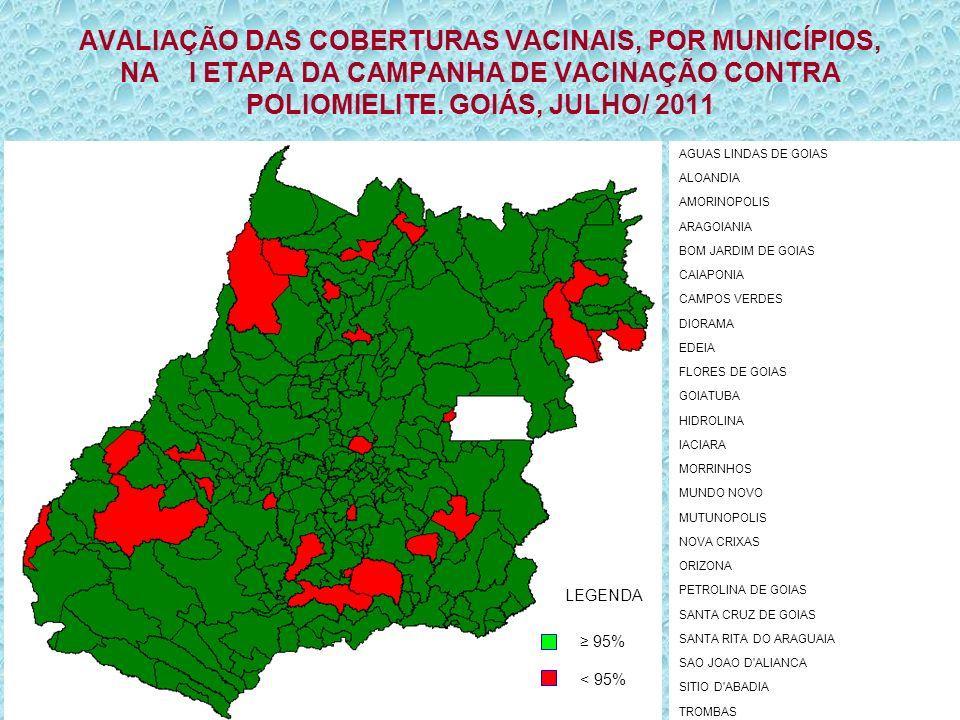 AVALIAÇÃO DAS COBERTURAS VACINAIS, POR MUNICÍPIOS, NA I ETAPA DA CAMPANHA DE VACINAÇÃO CONTRA POLIOMIELITE. GOIÁS, JULHO/ 2011