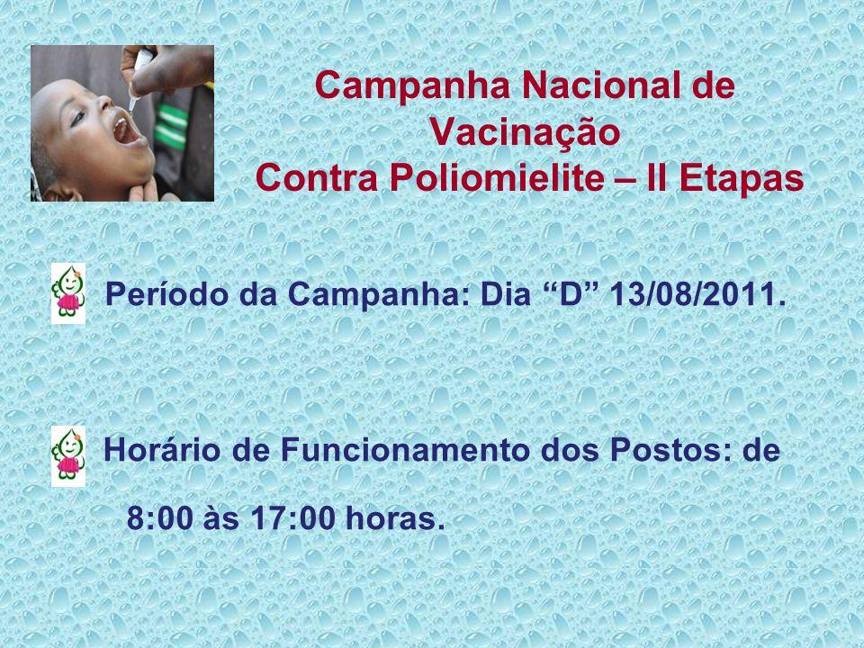 Campanha Nacional de Vacinação Contra Poliomielite – II Etapas