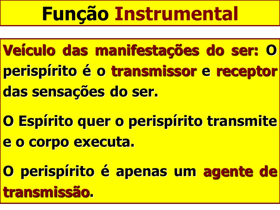 Função Instrumental Veículo das manifestações do ser: O perispírito é o transmissor e receptor das sensações do ser.