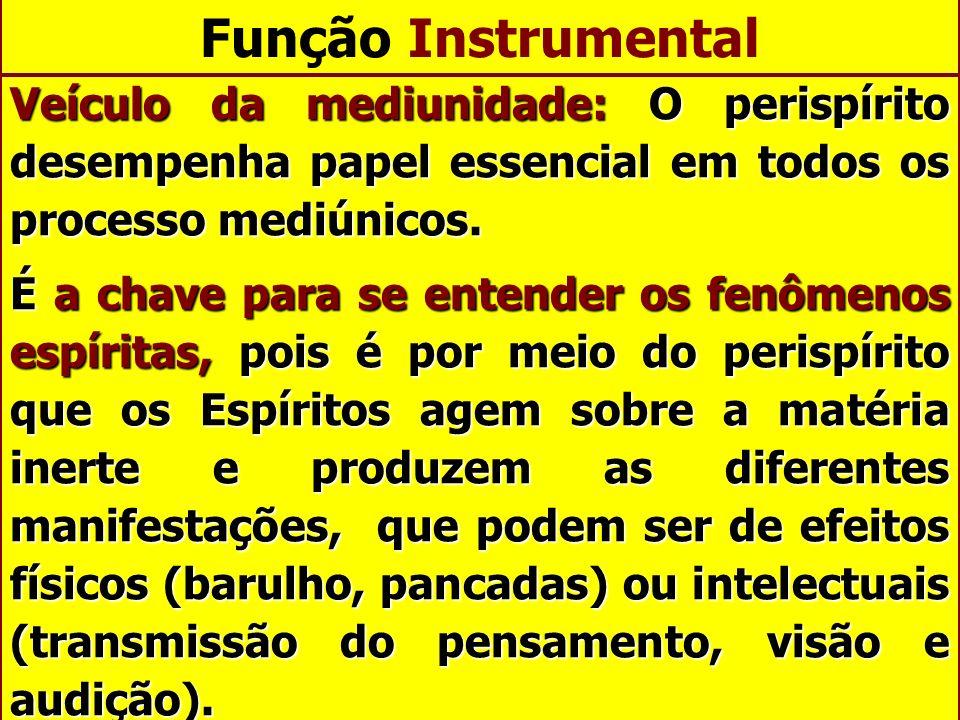 Função Instrumental Veículo da mediunidade: O perispírito desempenha papel essencial em todos os processo mediúnicos.