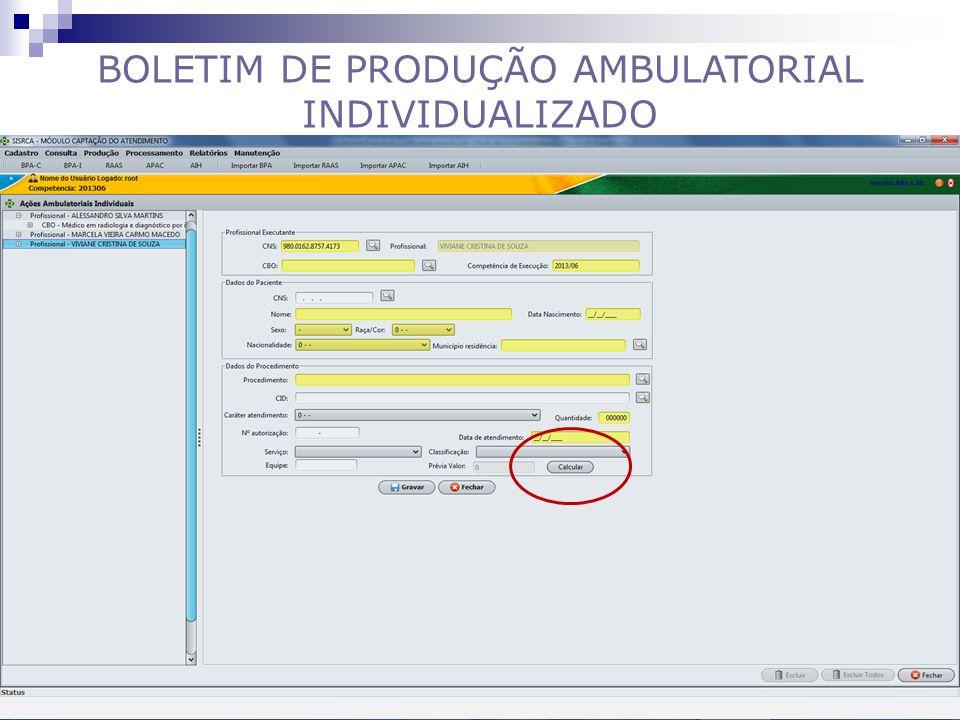 BOLETIM DE PRODUÇÃO AMBULATORIAL