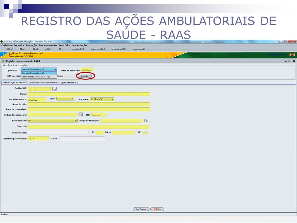 REGISTRO DAS AÇÕES AMBULATORIAIS DE SAÚDE - RAAS