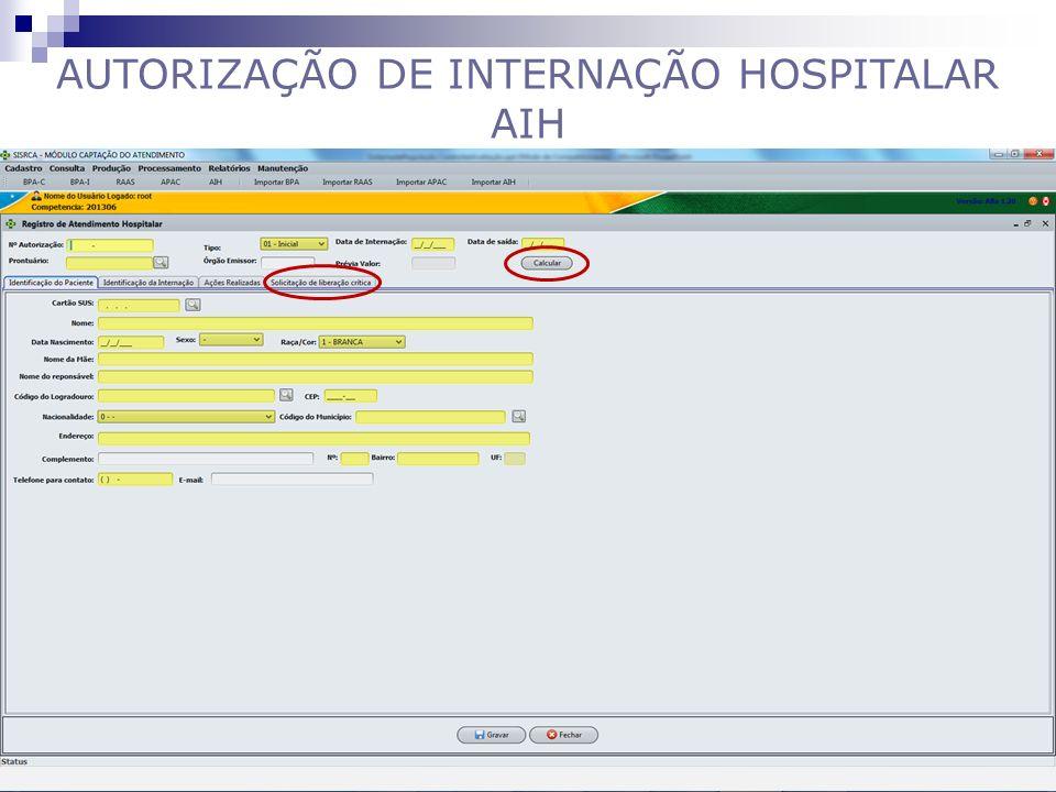 AUTORIZAÇÃO DE INTERNAÇÃO HOSPITALAR