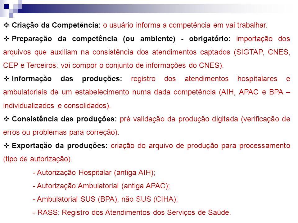 Criação da Competência: o usuário informa a competência em vai trabalhar.