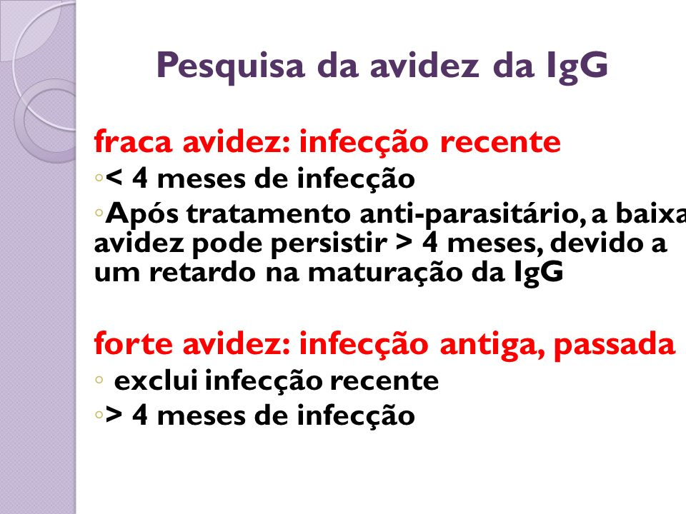 Pesquisa da avidez da IgG