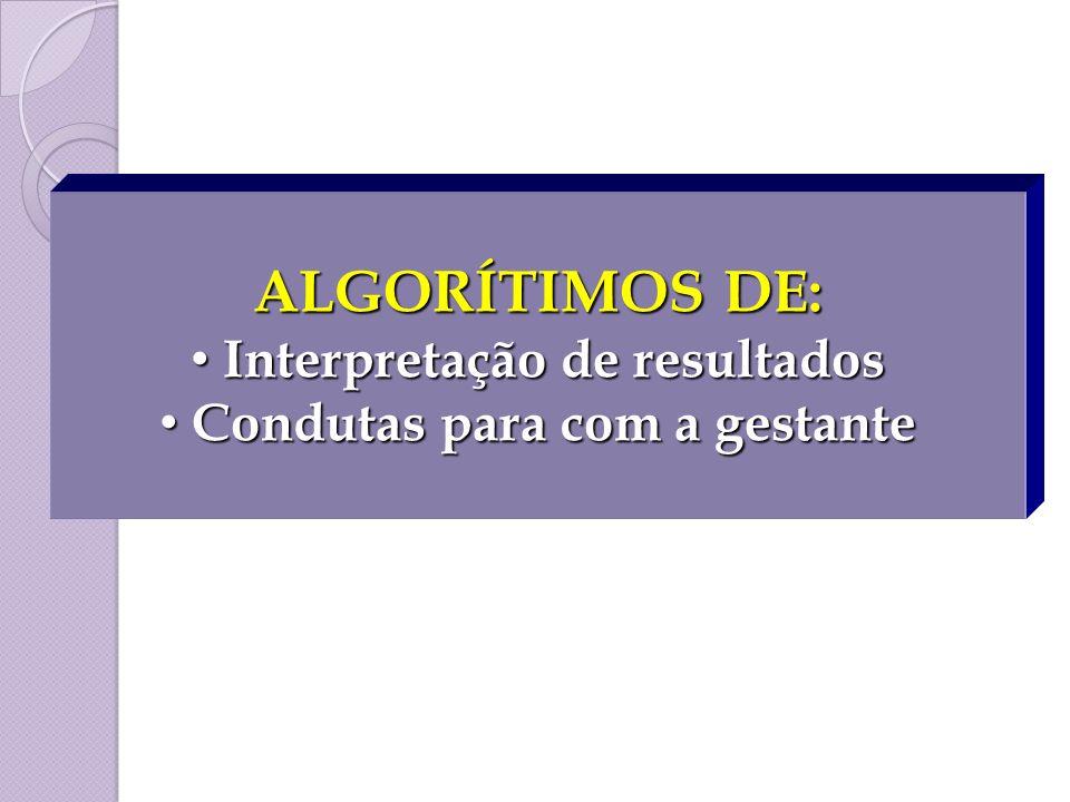Interpretação de resultados Condutas para com a gestante