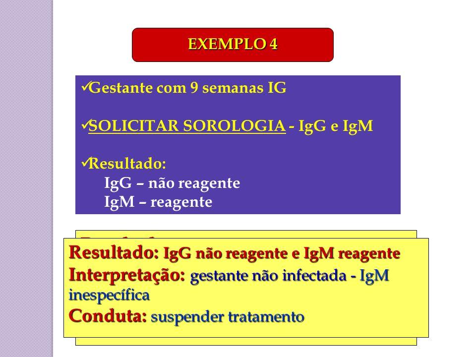 Resultado: IgG e IgM reagentes Interpretação: infecção aguda