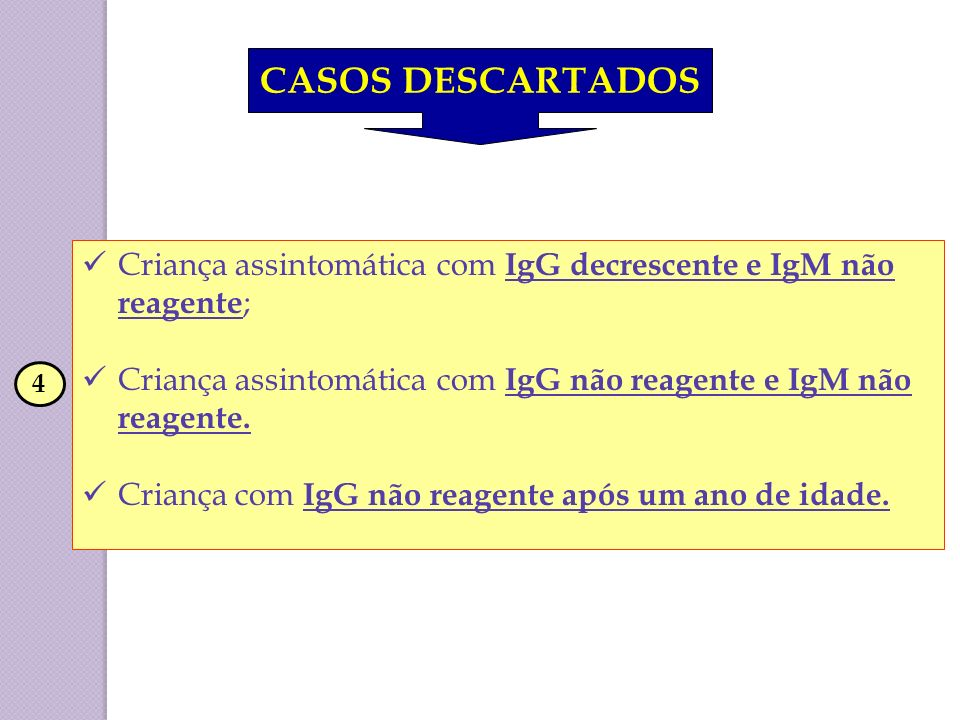 CASOS DESCARTADOS Criança assintomática com IgG decrescente e IgM não reagente; Criança assintomática com IgG não reagente e IgM não reagente.