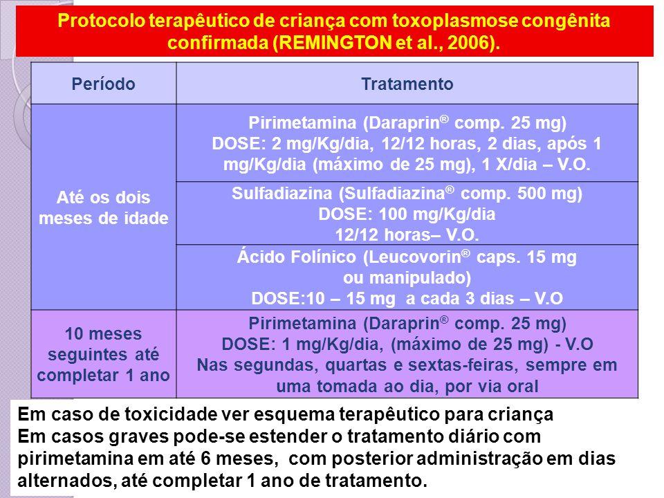 Em caso de toxicidade ver esquema terapêutico para criança