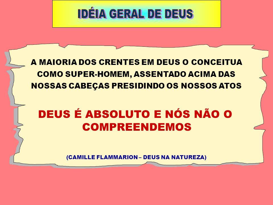 IDÉIA GERAL DE DEUS DEUS É ABSOLUTO E NÓS NÃO O COMPREENDEMOS