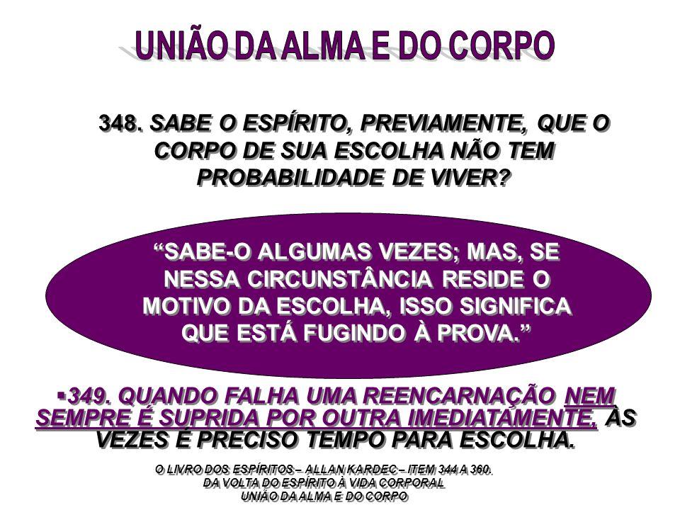 UNIÃO DA ALMA E DO CORPO 348. SABE O ESPÍRITO, PREVIAMENTE, QUE O CORPO DE SUA ESCOLHA NÃO TEM PROBABILIDADE DE VIVER