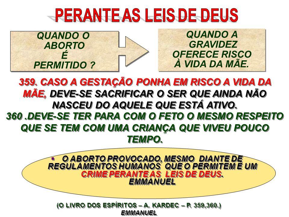 (O LIVRO DOS ESPÍRITOS – A. KARDEC – P. 359,360.) EMMANUEL