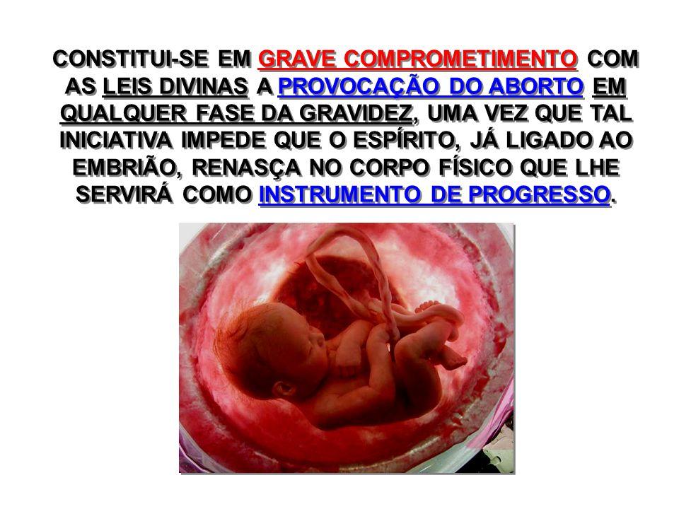 CONSTITUI-SE EM GRAVE COMPROMETIMENTO COM AS LEIS DIVINAS A PROVOCAÇÃO DO ABORTO EM QUALQUER FASE DA GRAVIDEZ, UMA VEZ QUE TAL INICIATIVA IMPEDE QUE O ESPÍRITO, JÁ LIGADO AO EMBRIÃO, RENASÇA NO CORPO FÍSICO QUE LHE SERVIRÁ COMO INSTRUMENTO DE PROGRESSO.