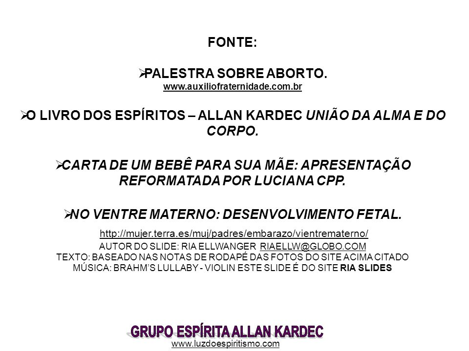 PALESTRA SOBRE ABORTO. www.auxiliofraternidade.com.br