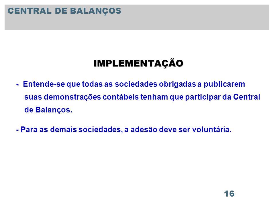 IMPLEMENTAÇÃO CENTRAL DE BALANÇOS