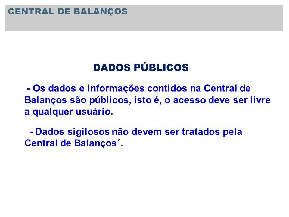 - Dados sigilosos não devem ser tratados pela Central de Balanços´.